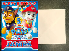PAW PATROL  MARSHALL - CHASE PERSONALISED Birthday Card AGE Son Brother Grandson