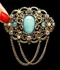 Large Ornate Brass Brooch 70 x 50mm Antique Victorian Czech Blue Moon Glow Glass