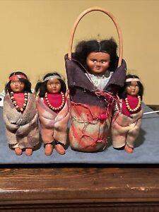 Early Vintage Skookum Papoose Doll & 3 Little Skookums. 4 Dolls. One Missin Shoe