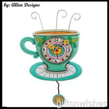 Delightful Quirky Sunny Cup Tea Coffee  Pendulum Wall Clock Allen Designs
