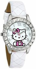 NEW HELLO KITTY SILVER TONE,WHITE PLASTIC BAND,CRYSTAL BEZEL WATCH HKAQ2800
