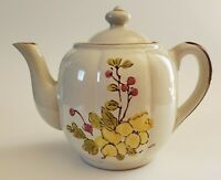 Casualstone JMP Stoneware Teapot Hand Painted Yellow Flowers Pink Berries Korea