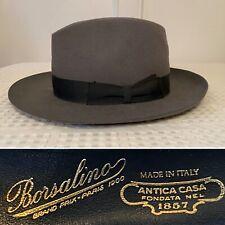 "BORSALINO ""Como"" Premium Gray Felt Mens Fedora Hat Size 7-1/8 Small ITALY"
