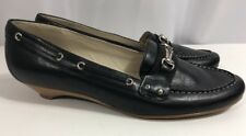 Bass Helen Womens Black Leather Flat Horse Bit Loafer Shoes 8.5 M Nice