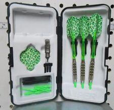 Darts Fat Cat 17 gm Neon Green Cheetah Flights Soft Tip Dart Set W/25 Extra Tips