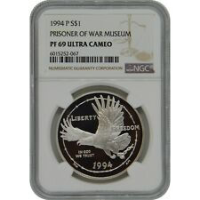 1994-P POW Museum NGC PF69 Proof Commemorative Silver One Dollar Coin