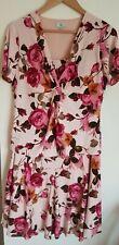 Counyry Casuals Cc zwei Stück rosa Blumen Rock Größe 16 & Top Größe 14