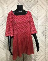 NWT Catherines Dark Pink 3/4 Sleeve Ombre Chevron Stretch Tunic Blouse Sz 3X