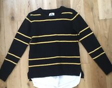 Unif Navy Yellow Stripe Faux Layer Knit Jumper Small Chest 40