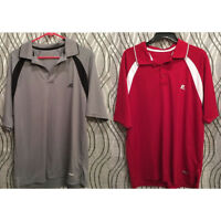 RUSSELL ATHLETIC - Golf Polo Shirt - Red & White Gray & Black - LARGE - LOT of 2