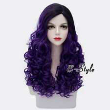 60CM Black Mixed Purple Long Curly Hair Harajuku Fashion Women Cosplay Party Wig