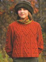 "Knotwork & Arrowhead Cable Short & Long Sweater Aran Knitting Pattern 36-48"""