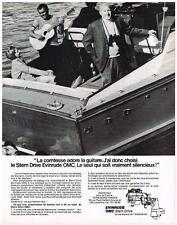publicité advertising  1970   EVINRUDE   moteur bateau  OMC la Comtesse & gitans