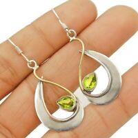 Two Tone Peridot 925 Solid Sterling Silver Earrings Jewelry ED34-4
