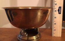Vintage Hollywood Regency Brass Bowl on Pedestal with Coy Fish Feet