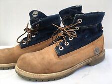 Womens Timberland Blue Denim Roll Top Boots Lace Up Casual Country Size Uk 5