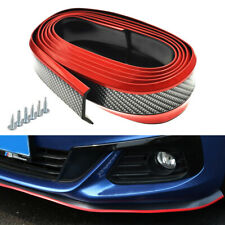 8FT Carbon Fiber Car Front Bumper Chin Protector Lip Guard Spoiler Red Trim