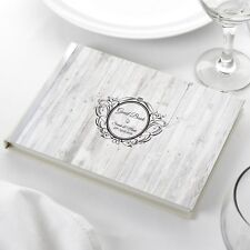 Personalised Wedding Guest Book Ivory - Shabby Chic Rustic Vintage Wood Effect