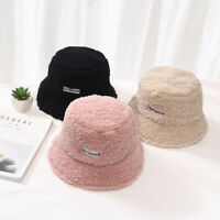 Women Cashmere Bucket Hat Winter Cap Solid Warm Bucket Hat Girls Wide Brim