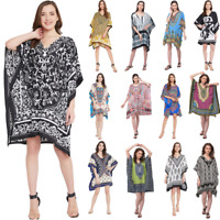 Women V-Neck Mini Dress Holiday Beach Short Kaftan Tunic Bohemian Summer Dresses