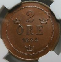 SWEDEN 2 ore 1884 Open 4 NGC MS64 BN UNC