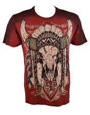 Konquest Platinum Men's Indian Buffalo crâne Imprimer T-shirt rouge profond (kqts 063)