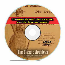 Clothing Making, Needlework, Hat Making Library, 215 Vintage Books CD DVD E33