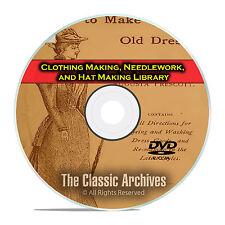 Clothing Making, Needlework, Hat Making Library, 215 Vintage Books CD DVD E33