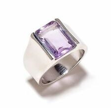 925 Sterling Silver Natural Gem Stone Amethyst Men's Ring Jewelery Us 7 8