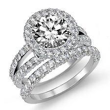 Ring Gia F Si1 Platinum 3.28ct Natural Round Cut Diamond Bridal Set Engagement