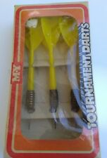 "Vintage-M-Y Tournament Darts Darrow Brass Darts 5"" yellow set of 3 & FREE Xtras"