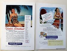 2 x American Express Vacation  Travel Vintage Magazine Print Ads 1950s