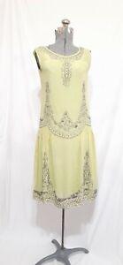 1920s Antique Chartreuse Green Silk Beaded Dress XSmall Drop Waist W/ Slip