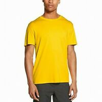 DKNY Mens T-Shirt Yellow Size Large L Embroidered Logo Crewneck Tee $39 345