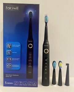 Electric Toothbrush Fairywill Sonic Black Rechargeable 507 BLACK + 4 Heads