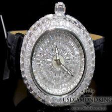 BlingMaster Orbit Round 3.00ct Baguette A++ Cz's Unisex Leather Wrist Watch New