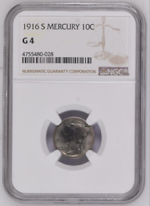 NGC G4,  1916 S  LIBERTY MERCURY 10C