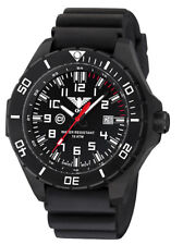 Tactical Watch Landleader Black Steel C1- Light Silicone Band KHS Germany