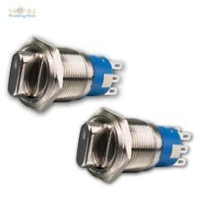 Drehschalter Edelstahl, 1/2-polig, 250V- 3A, IP50, Wendeschalter Metall Schalter