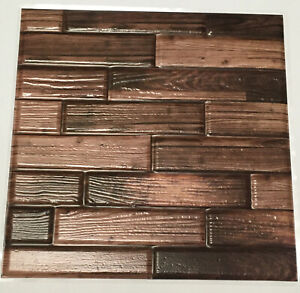 10 PCS Peel Stick Wall Tile Brown Wood Grain Mosaic Backsplash Lightweight 12 in