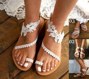 Summer White Lace Ladies Flat Sandals Womens Boho Beach Straps Shoes Size 2-10
