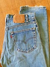 LEVIS 505 REGULAR VINTAGE MADE IN USA FIT 33 X 34 WORN FRAY BLUE DENIM JEANS