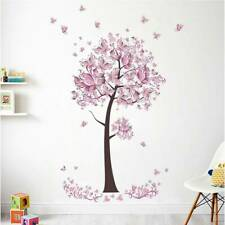 Pink Butterfly Flower Tree Wall Stickers Removable DIY Decals for Living Room q