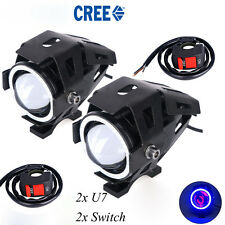 Blue Ring U7 Motorcycle LED  Spotlight Fog Lamp with 2x switch For Pulsar 180