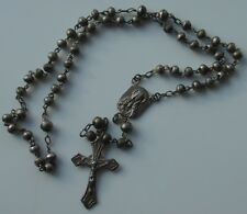 Vintage Catholic Sterling Silver Rosary Crucifix Necklace Child Size Hand Bead