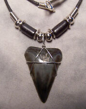 """NICE 1 3/8"""" MAKO  SHARK TOOTH TEETH NECKLACE FOSSIL JAW MEGALODON FISHING"""