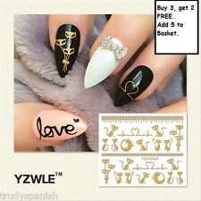 3D Nail Art Stickers Decals Metallic Gold Cats Hearts Lace Gel Polish (6029)