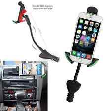 Dual USB Charger Cigarette Lighter Socket In-Car Mount Phone Holder 360° Rotable