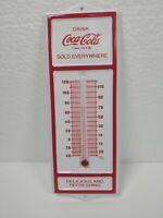"RARE Vintage 6.5"" Coca-Cola Coke Tin White Red Advertising Thermometer"