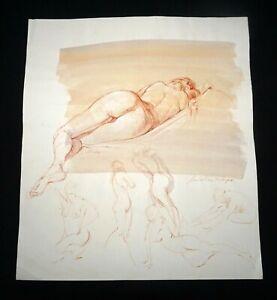 Hawaii Mixed Media Wash Painting Sleeping Female Nude Snowden Hodges (Sho)#107